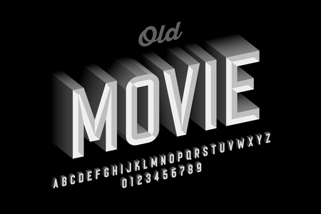Old movie style vintage font design, retro style alphabet letters and numbers