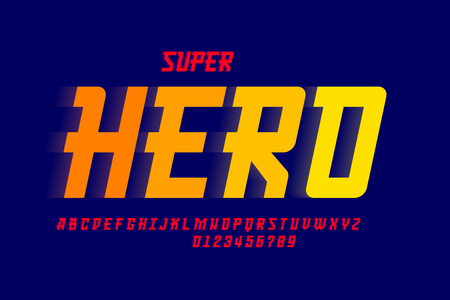 Comics Superhero font design, alphabet letters and numbers  イラスト・ベクター素材