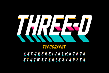 Three-dimensional style modern font design, alphabet letters and numbers Illustration