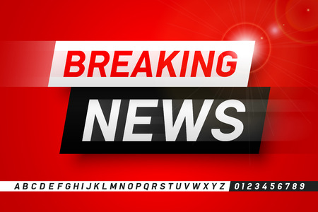 Breaking news style font design, lphabet letters and numbers