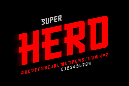 Comics Superhero font design, alphabet letters and numbers