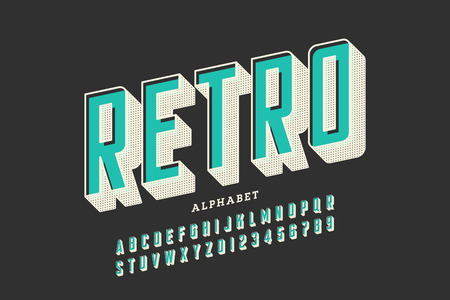 Retro offset printing style font, alphabet letters and numbers