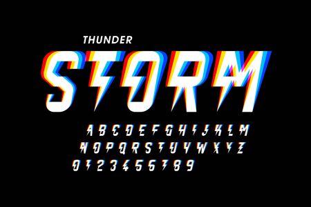 Conception de polices de style orage, lettres de l'alphabet et chiffres Vecteurs