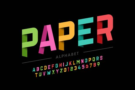 Origami style font design, paper folding alphabet letters and numbers Illustration