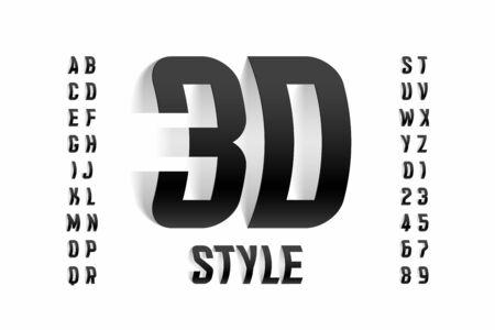 Conception de polices de style tridimensionnel, lettres et chiffres de l'alphabet 3d