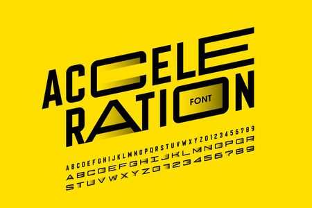 Acceleration style font design, alphabet letters and numbers