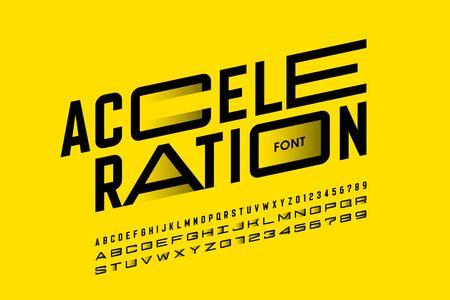 Conception de polices de style d'accélération, lettres et chiffres de l'alphabet