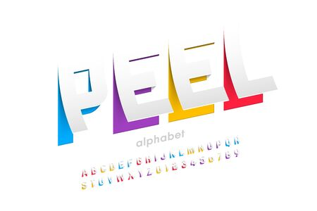 Peeled style font design, alphabet letters and numbers
