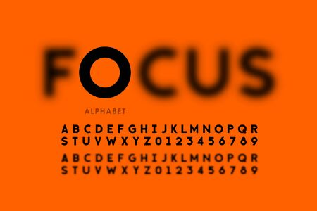 In focus style font design, alphabet letters and numbers Çizim