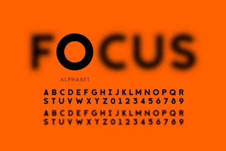 Nel design del carattere in stile focus, lettere e numeri dell'alfabeto