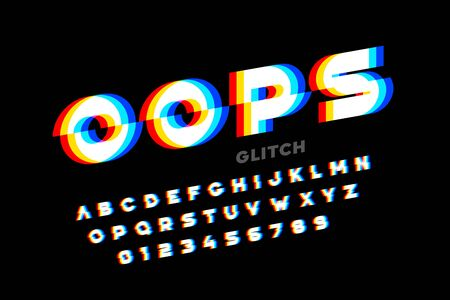 Glitch style font design, distorted alphabet, letters and numbers