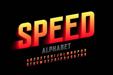 Speed style font design, alphabet letters and numbers