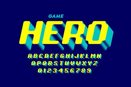 Retro computer game style font design, alphabet letters and numbers Stock Illustratie