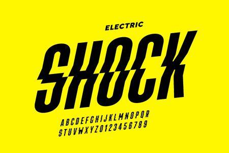 Projekt czcionki, litery alfabetu i cyfry w stylu szoku elektrycznego Ilustracje wektorowe