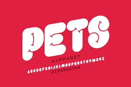 Pets style font design, alphabet letters and numbers 版權商用圖片 - 129567311
