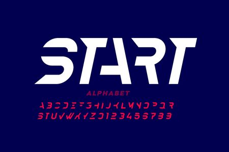 Sport style font design, alphabet letters and numbers