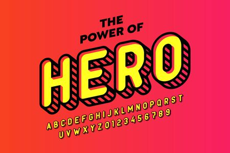 Comics hero style font design, alphabet letters and numbers Stock Illustratie