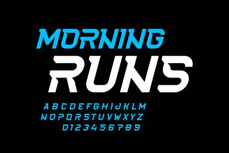 Sport style font design, speed alphabet, letters and numbers