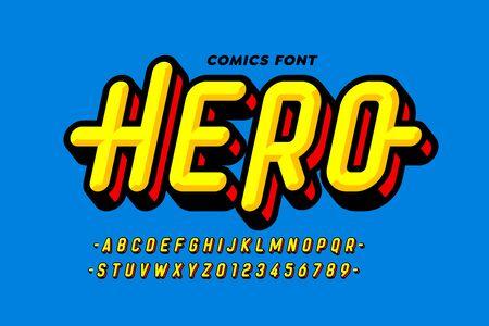 漫画超级英雄风格字体设计,字母和数字