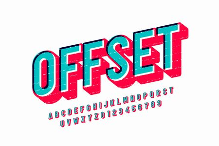 Offset print style font design, alphabet letters and numbers 矢量图像