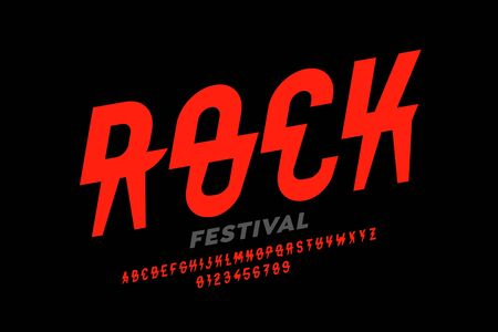 Rock music festival style font design, alphabet letters and numbers