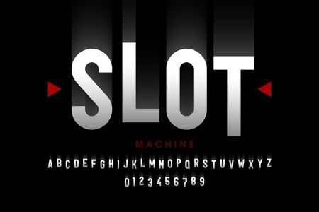 Slot machine style font, alphabet letters and numbers Ilustrace