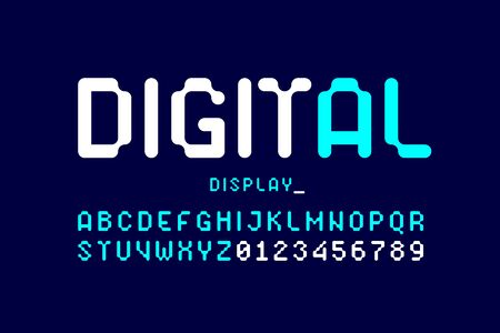 Digital display typeface, alphabet and numbers