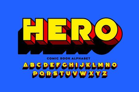 Comic book SuperHero style font design 矢量图像