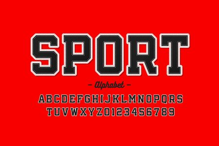 Sports uniform style font, alphabet letters and numbers 矢量图像