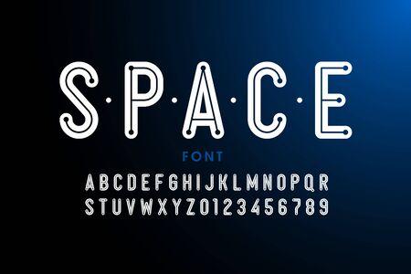 Science fiction style font, alphabet letters and numbers Ilustração Vetorial