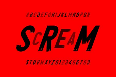 Scream font in Halloween style, alphabet letters and numbers Çizim