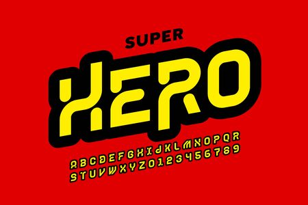 Comics Super Hero style font design, alphabet letters and numbers