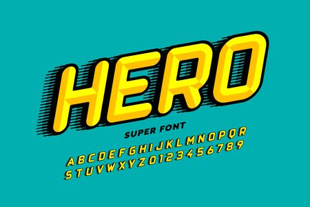 Comics style font design, super hero alphabet, letters and numbers