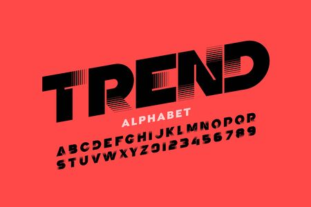 Trendy style font design, alphabet letters and numbers Illustration