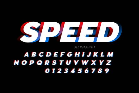 Speed sport style font, alphabet and numbers
