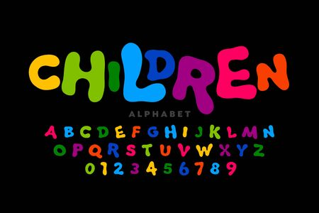 Children's style colorful font, playful alphabet, letters and numbers Illustration