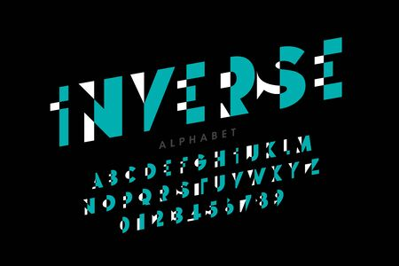 Inverse style modern font, alphabet letters and numbers,