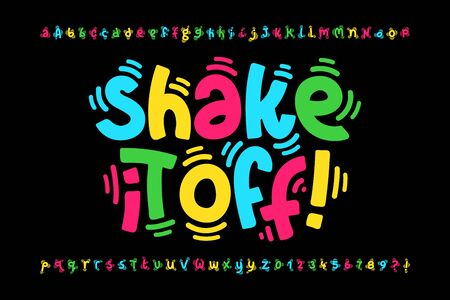 Shaky style font design, shake it off poster, vibrant alphabet letters and numbers