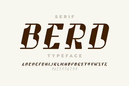 Serif typeface modern font design, alphabet letters and numbers vector illustration
