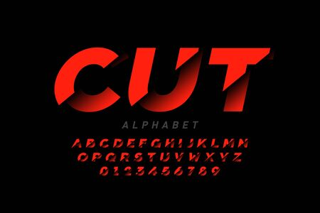 Cut style font design, alphabet letters and numbers
