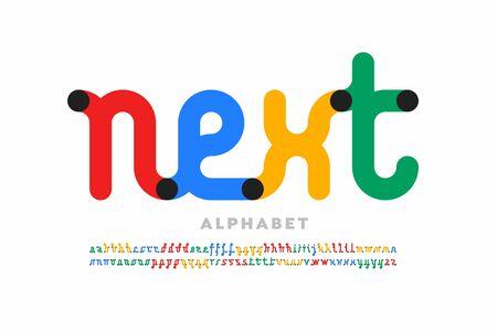 One line style font design, single continuous line alphabet Vector Illustratie