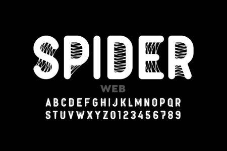 Spider web style font design, alphabet letters and numbers