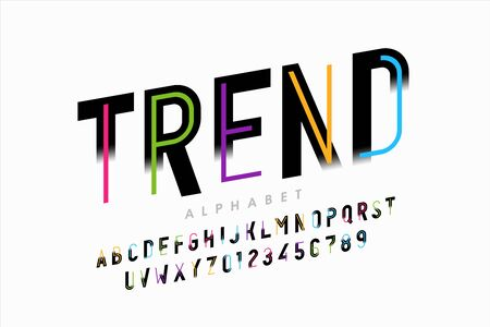 Bright colorful modern style font design, vivid alphabet, letters and numbers