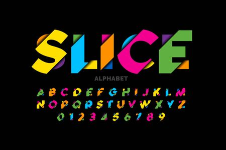 Modern vivid color sliced style font, colorful alphabet letters and numbers