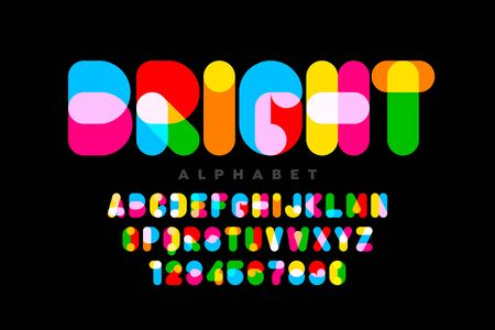Vibrant style font design, colorful alphabet, letters and numbers