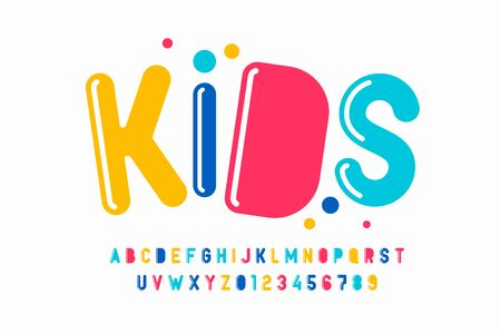 Playful style font design, kids alphabet, letters and numbers