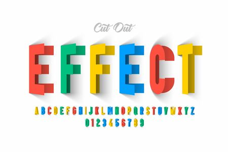Paper cut out effect font design, alphabet letters and numbers Ilustrace
