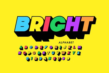 Vibrant colorful style font design, alphabet letters and numbers Ilustrace