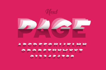 Flipping pages style colorful font, alphabet letters and numbers Ilustrace