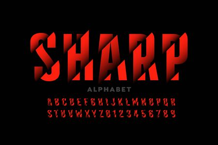 Modern font design with sliced effect, alphabet letters and numbers Ilustrace
